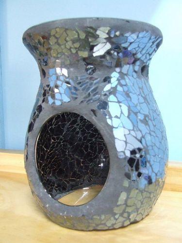 Mosaic Oil Burner - Black Crackle